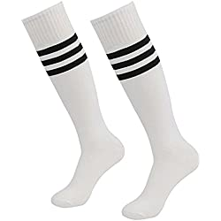 westeng 1par hombre mujer long-barreled rayas calcetines de animadora de fútbol baloncesto deportes calcetines de algodón Calcetines de caña alta, blanco