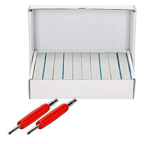 ECD Germany 2-er Pack Ventil Einsatz Kern Werkzeug 135mm + 6Kg 100 Stück Klebegewichte je Riegel 12x5g Set