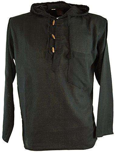 Hemd Schwarz Bekleidung (Guru-Shop Nepal Hemd, Goa Hippie Sweatshirt, Herren, Schwarz, Baumwolle, Size:XXL, Männerhemden Alternative Bekleidung)