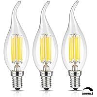 TAMAYKIM C35 6W Dimmerabile Filamento Lampadina LED Candela - 4000K Bianco Naturale 650 lumen - 6W equivalente a 65W - Attacco E14 - Fiamma Forma - 360° Angolazione Fascio Luce - 3 Pezzi