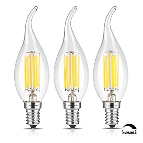 TAMAYKIM C35 6W Dimmbar Glühfaden LED Kerze Lampe, 4000K Neutralweiß 650 Lumen, 65W Entspricht Glühlampe, E14 Fassung, Flamme Form, 360° Abstrahlwinkel, 3er-Pack