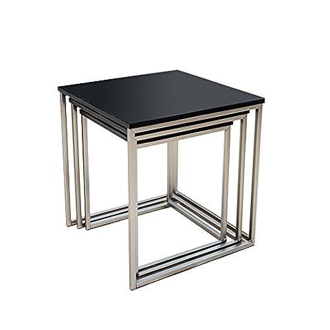 Design Beistelltisch 3er Set FUSION matt schwarz Edelstahl gebürstet Couchtisch