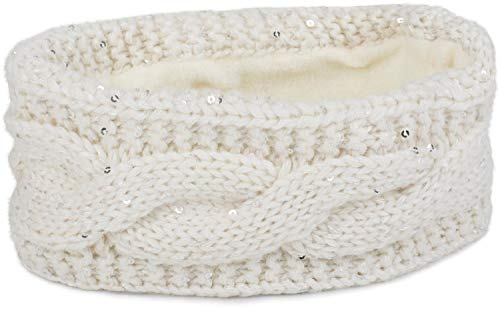 styleBREAKER Stirnband Grobstrick mit Zopfmuster und Pailletten, warmes Fleece Innenfutter, Haarband, Headband, Damen 04026002, Farbe:Creme-Weiß