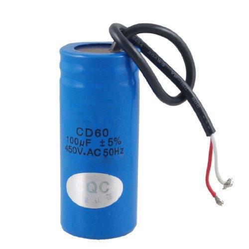 SODIAL (R) 100uF 450V AC CD60 2 Black Wire Lead-Motorstart-Betriebskondensator