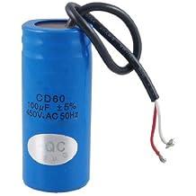 SODIAL(R) Condensador de Funcionamiento del Motor 100uF 450V CA CD60 2 Cable Negro