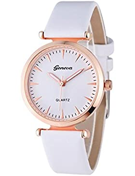 Vovotrade Damen Diamant analoge lederne Quarz Armbanduhr Uhren(Weiß)