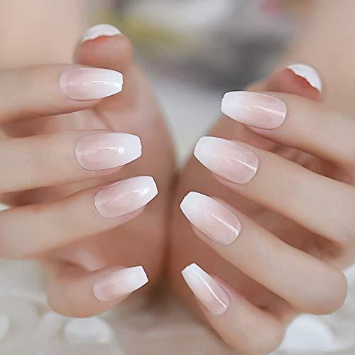 LANGMAN Künstliche Nägel Nude farbverlauf sarg falscher nagel klassisches einfaches design nägel einfach diy nail art zubehör full cover