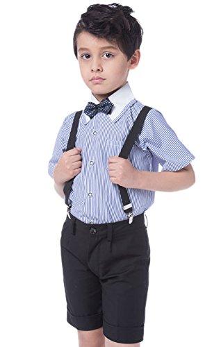 Icegrey Jungen Hochzeit Festlich gekleidet Taufe mit kurzen Ärmeln Hemd und Short Set mit Strapse, Fliege Blau 9 Jahre (Shorts Husky Jungen)