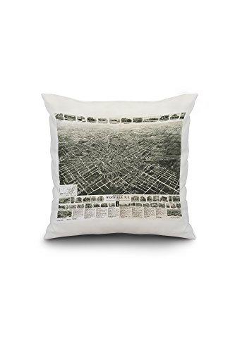 Westfield, New Jersey - Panoramic Map (18x18 Spun Polyester Pillow Case, Custom Border)