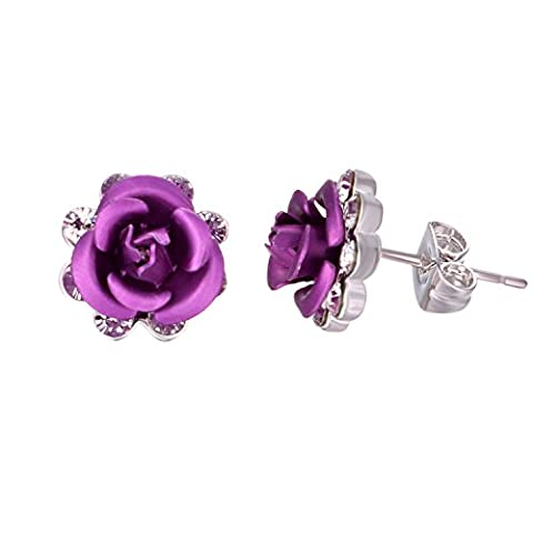 Yoursfs Elegant 18ct White Gold Purple Flower Earrings for Girls Women Diamond Rose Stud Earrings Fashion Jewellery