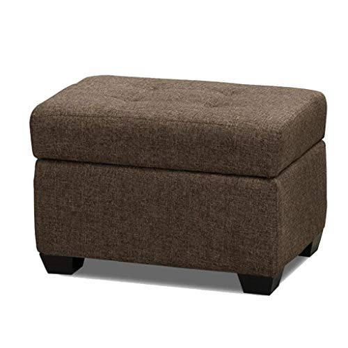 LIQIN Osmanische Fußbank Multi-Color Schuh Bank Holz Stoff Platz Sitz Lagerung Sofa Rest Wohnzimmer Balkon Flur 60 cm * 40 cm * 40 cm (Color : Dark Brown) -