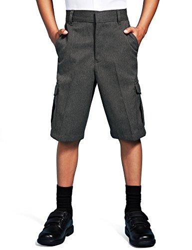 Integriti Schoolwear Boys School Cargo Shorts Smart Uniform Age 2-13 Years Black Grey Teflon Stain Resistant