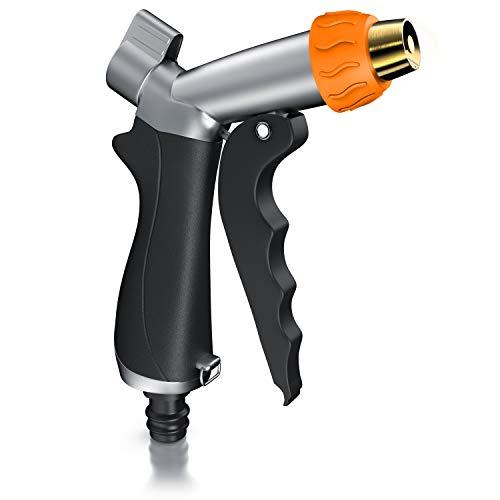 Brandson - Gartenbrause - Garten Handbrause 0,5 Zoll für Gartenschlauch - Metall Messing - Pistolengriff mit Halteclip - 170 psi Wasserdruck - regelbarer Wasserdurchfluss - mit 1 2 Gardena kompatibel