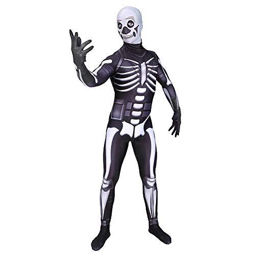 DFRTYE Erwachsene Kinder Skelett Spiel-Anim Halloween Kostüm Overall 3D Print Lycra Spiel-Anim Cosplay Body,Adult-XXL
