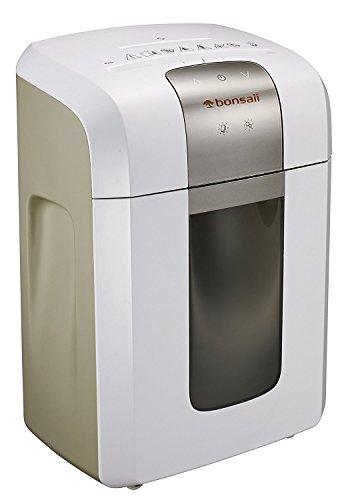 Bonsaii 4S16 Aktenvernichter, bis zu 6 Blatt Papier, Mikroschnitt (Sicherheitsstufe P-5), mit CD - Shredder, 1 Stunde Dauerbetrieb (ca. 2400 DIN A4 Seiten) - geeignet nach DSGVO 2018, weiß/silber