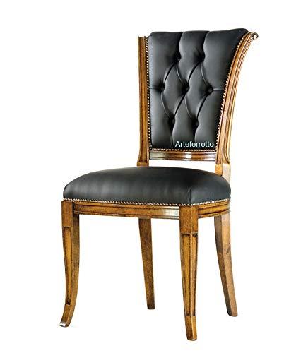Esszimmerstuhl mit Knöpfen in Rücklehne, Polsterstuhl im klassischen Stil für Esszimmer Wohnzimmer, Stuhl mit hocher Rücklehne und gepolstertem Sitz, Einrichtung Made in Italy