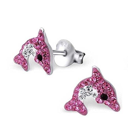 SL-Collection Ohrringe Kinderohrringe Delfin Kristalle in zwei Farben 925 Silber , Farbe:Pink