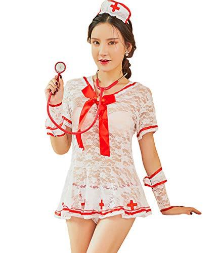 Olens Damen-Kostüm für Krankenschwester, sexy, Kurze Ärmel, Spitze, Kostüm, Cosplay - Weiß - Einheitsgröße