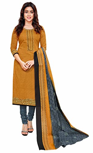 Miraan Women's Cotton Dress Material (SG1521PRI_Brown_One Size)