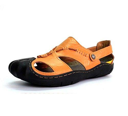 Ydxwan Männer Baotou Beach Sandalen Schuhe Rutschfeste Freizeitschuhe Leder Sandalen Outdoor Sports Schuhe Größe 38-44 (Color : Light Brown, Größe : 40) (Sandalen Leder Crew)