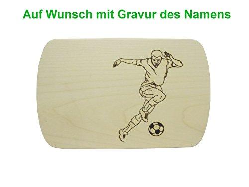 Fußball-schneidebrett (Frühstücksbrett Schneidebrett mit Gravur 24x15cm Fussballer Fussball Ahorn Holz)