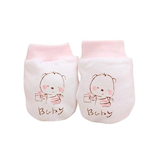 Zhouba 2paires mignon Dessin animé bébé enfant Garçons Filles anti Scratch Moufles Gants pour nouveau-né souple Cadeau rose rose taille unique