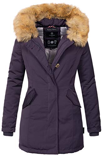 Marikoo Damen Winter Jacke Parka Mantel Winterjacke warm gefüttert B362 [B362-Karmaa-Lila-Gr.L]