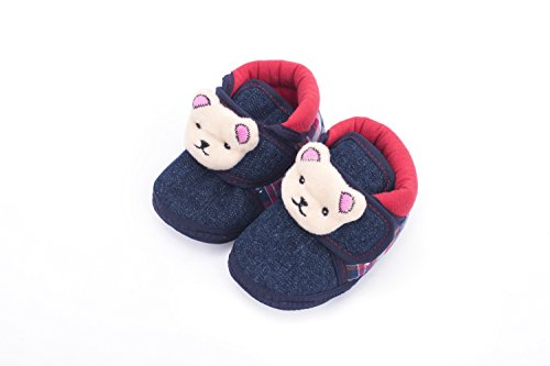 Infano Teddy Style Check Printed Navy Blue Color Baby Shoes (3-9 months,1 Pair)