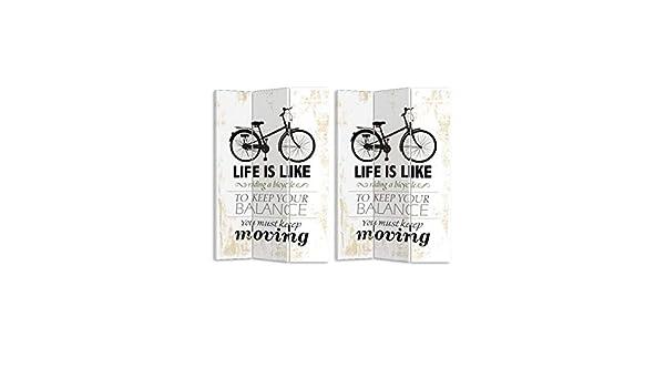 MONTEMAGGI Paravento Separe Bicicletta e Scritte 3 Ante in Legno e Canvas 120x2,5x180cm