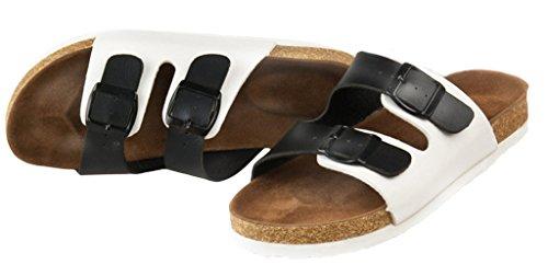 Lukis Unisex Flache Pantoletten Hausschuhe mit EVA Sohle Schwarz Weiß