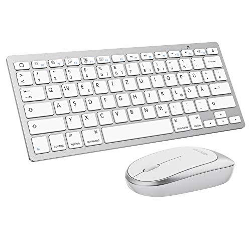 OMOTON Tastatur und Maus Set, Bluetooth Tastatur und Maus für iPad und iPhone (iOS 13 und höher), QWERTZ Layout, Weiß