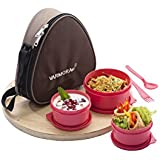 Varmora Treat Lunch / Meal Leakproof Lunch Box 500 Ml Set Of 3, Spoon & Fork Pink, Insulated Bag Brown