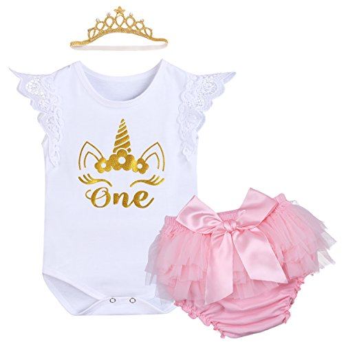 6f9dc6954f6f IWEMEK Newborn Baby Infant Toddler Girls It's My 1st Birthday Cake Smash  Shiny Printed Sequin Tutu Princess Dress Romper Bloomers With Crown  Headband ...