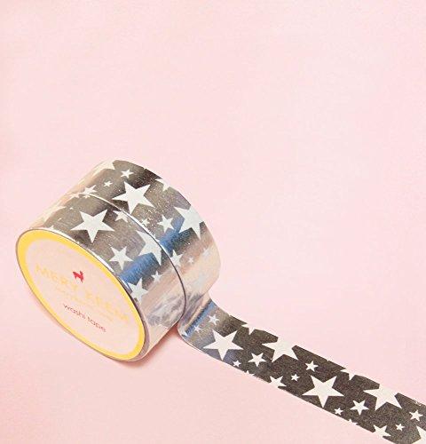 Estrella de Rock and Roll en Plateado Foil Washi Tape para Diarios y Planificadores • Scrapbooking • Artesanias • Oficina • Artículos de Fiesta • Envoltorios de Regalo • Ideal para Manualidades • Cinta Adhesivas Decorativa • DYI