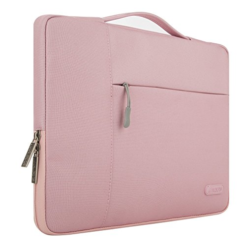 MOSISO Tasche Sleeve Hülle Kompatibel 15-15,6 Zoll MacBook Pro, Notebook Computer Multifunktionshülsen Spritzwasserfest Laptoptasche Handtaschen mit zusätzlichem Stauraum Polyester Schutzhülle, Pink