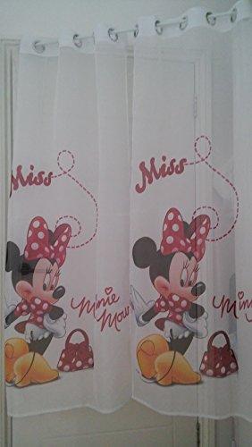 2 x Ensemble de Disney Rideau en voile Minnie mousse Rouge Largeur 75 cm pendantes X 150 cm/59 à œillets Anneaux