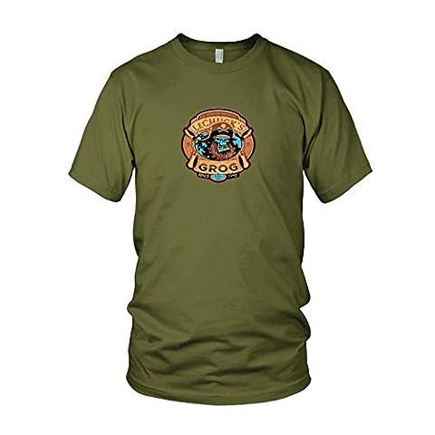 LeChuck's Grog - Herren T-Shirt, Größe: L, Farbe: army