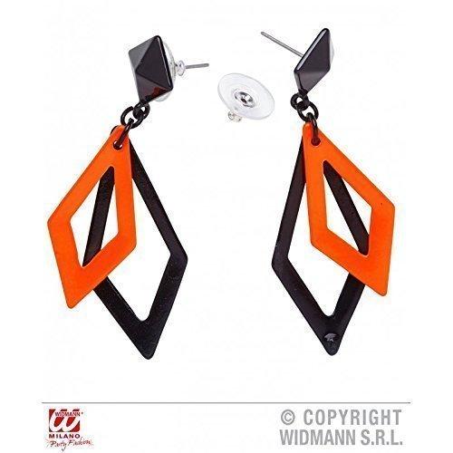 e orange - schwarze Ohrringe passend zu Kostümen der 80er oder Disco (Disco Ohrringe)