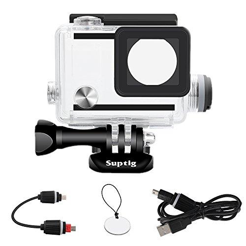 SupTig Gehäuse wiederaufladbar Wasserdichtes Gehäuse für Gopro Hero 4Hero 3+ Hero3außerhalb Sport Kamera für Unterwasser Nutzung Laden-Wasser Resistent bis zu 98ft (30m) -
