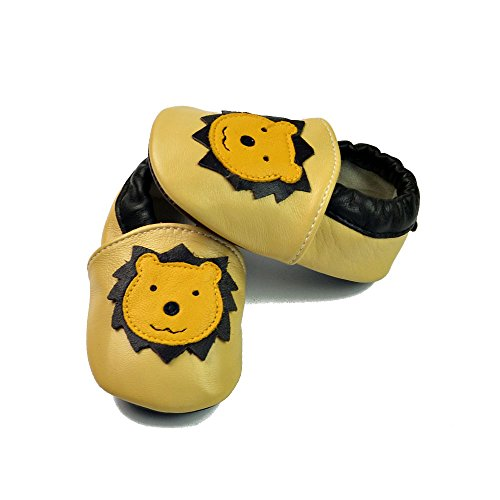 Vesi-WeichesLeder Lauflernschuhe Krabbelschuhe Babyschuhe Schlüpfen Atmungsaktiv Junge Mädchen Stern Blau Größe L:12-18 Monate Gelber Löwe