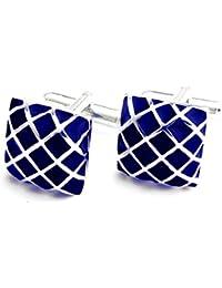 Peluche Brass Blue Enamel Cufflinks for Men
