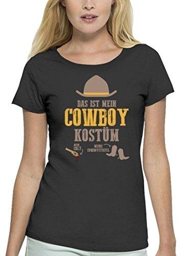 Fasching Karneval Premium Damen T-Shirt aus Bio Baumwolle Das ist mein Cowboy Kostüm Stanley Stella Anthrazite