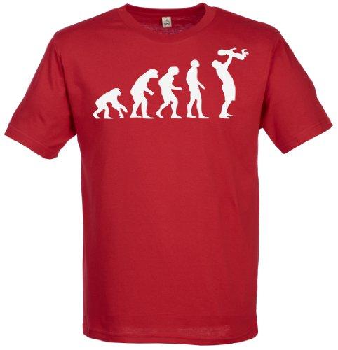 SR - Evolution To A Dad Herren T-Shirt - Papa Geschenk - Geschenk für Vater - Vatertagsgeschenk - Vater Geschenkset - Rot, Medium