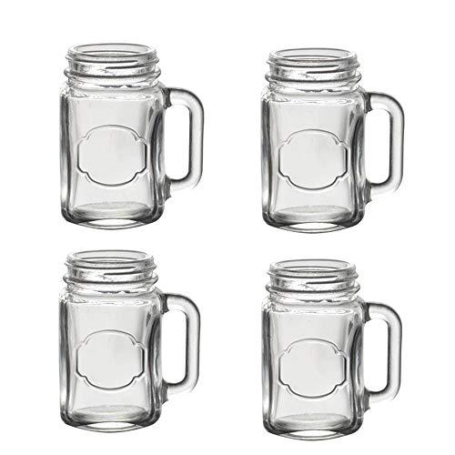 Mason Jar Schnapsgläser - Mini Schnapsgläser mit Griffen (Set von 4 Stück), ideal für Shots, Getränke, Gastgeschenke, Kerzen und Basteln - GLASS0002 120ml farblos