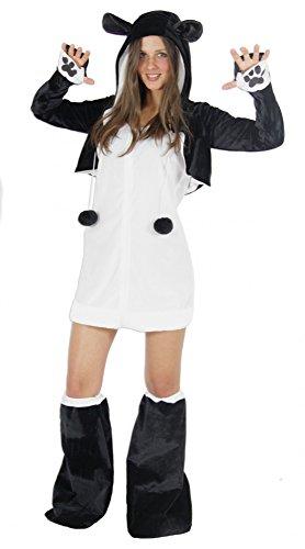 Foxxeo Panda Bär Kostüm für Damen Tierkostüme sexy Kleid für Karneval und Fasching Erwachsene Größe M