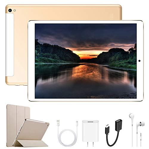 Tablet 10.1 pollici 4G, 32GB ROM Android 7.0 Octa Core Dual SIM OTG - RAM da 2GB Batteria litio 8500mAh - 8.0 MP fotocamera Camera - Bluetooth 4.1 WiFi Radio FM GPS/WIFI (G12_Oro)