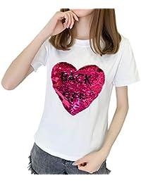 c2753180ed92 Shirt Donna Corta Paillettes Estivi con Manica Tops Abbigliamento Festivo  Rotondo Collo Modello di Cuore Stampate