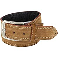 Men Belt Tan Suede Leather - for Jeans, Wide - 1.50'', Medium, Classic, Fashionable, Cool Man by XeeBest