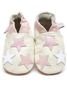 Zapatos para bebé (piel de Luxe pequeña estrellas rosa