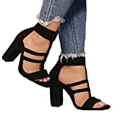 Damen 8 cm High Heels Wildleder Dicker Absatz Schnalle Sandalen Pumpen Party Tanzparty Sandalen 3 Farben 35-43